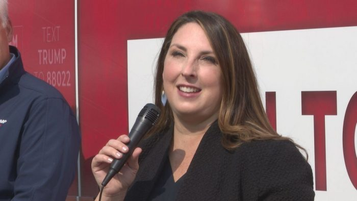 Ronna McDaniel stops in Lansing as part of Team Trump bus tour