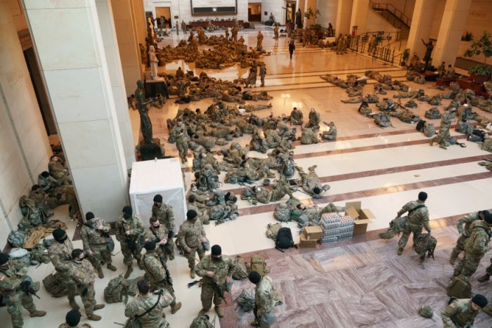 National Guard troops photographed sleeping on marble floors of Capitol ahead of impeachment vote