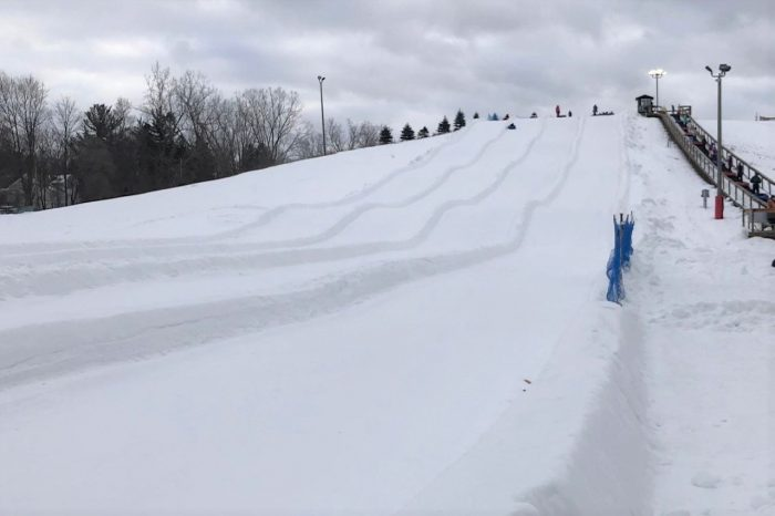 This groomed snow tubing slide is 600 feet of winter thrills at a Michigan park