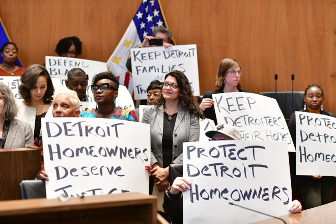 Tlaib, activists call for state probe of tax overassessments in Detroit