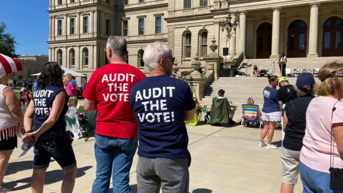 """Hundreds gather outside State Capitol for """"prayer rally"""", proof of election fraud"""