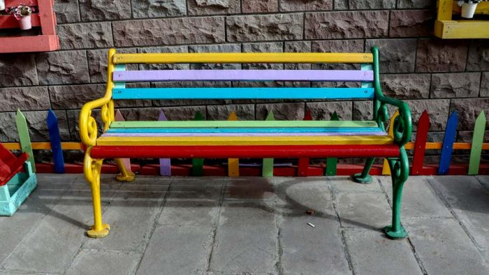 Real Estate Developers Decide Colorful Bench Enough To Deem Area 'Arts District'