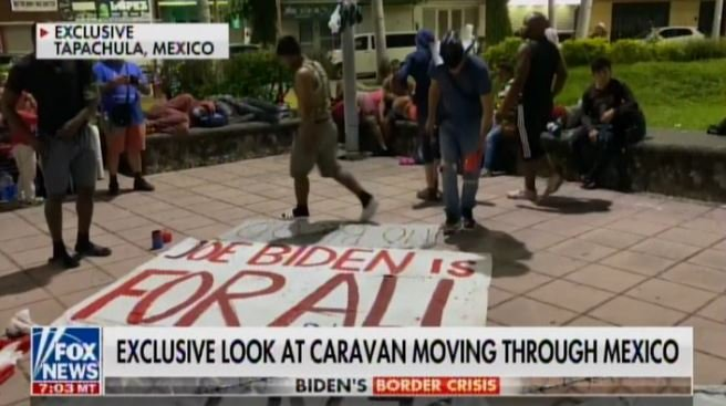 """MASSIVE ILLEGAL CARAVAN Marches Through Mexico with """"Joe Biden Is for All"""" Sign on Way to Open US Border"""